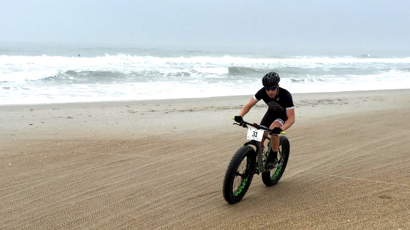 Competitor Ben Brown races in the U.S. Open Fat Bike Beach Championship at Wrightsville Beach.