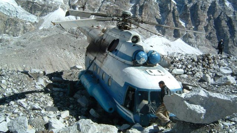 A helicopter that crashed near Everest Base Camp.