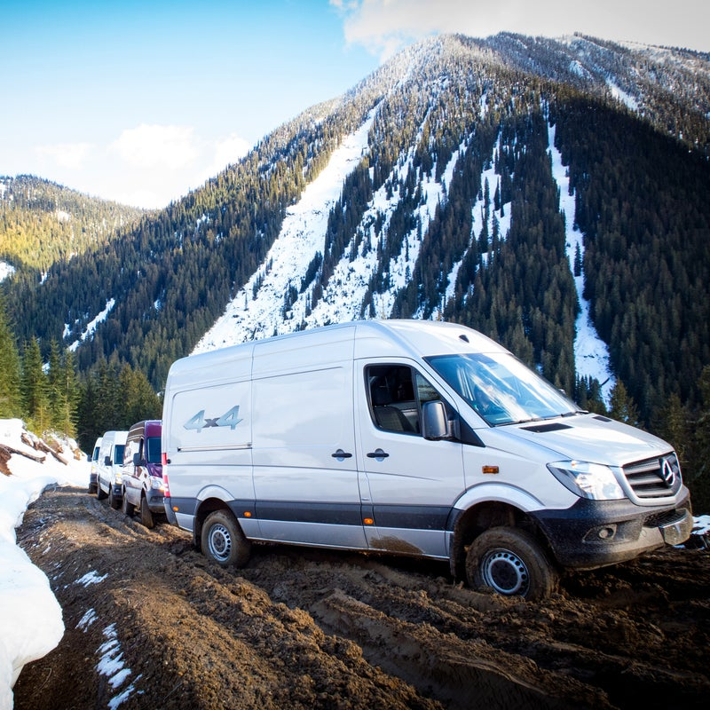 Buy the Sprinter with low range and you get a 40 percent lower crawl ratio (think granny gear on your mountain bike) than the standard model. Even so, torque is fixed in 4x4 mode (35 front/65 rear), and unfortunately there's no option for locking differentials. Yep, Syncros still have that advantage.
