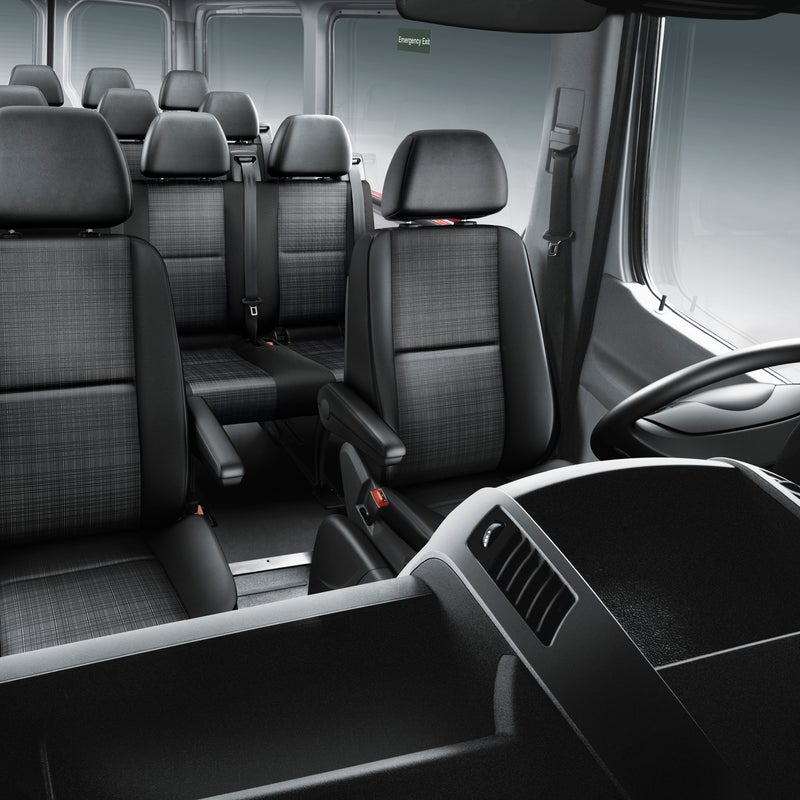 Get yours with seating for eight, which, while not the most adventure-ready configuration, is good for large families. But this view does show how we'd order ours—with windows.