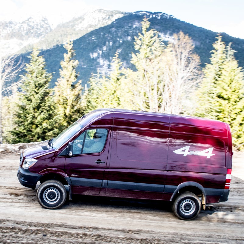 The 2015 Sprinter 4x4 offers multiple configuration options. More than 75 percent of purchases are customized at the dealership—you don't have to go aftermarket like you would with a vintage Westy. You can get the Sprinter with a front bench seat, a second row, and a divided cargo space. It's also available with either long or short wheelbases, with or without side-panel glass, and in a range of roof heights up to seven feet.