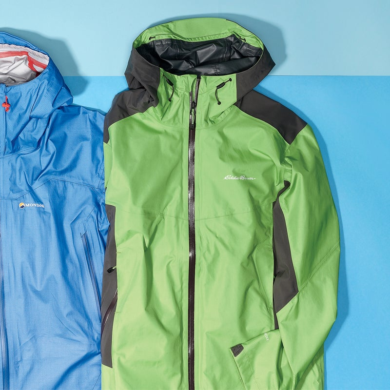 Best For: Long days in the rain. The Test: A good sign of a jacket's worth is when you've got 15 to choose from and you keep picking the same one. The Alpine Front ($229) is the only full-featured hard shell here, built from a proprietary fabric that deflected an inch of rain during a day hike in Olympic National Park. And with stretchy elbows, shoulders, and back, it's not nearly as crinkly as the Montane or Black Diamond. The fabric isn't quite as breathable as Gore-Tex or eVent, but thanks to pit vents and mesh-backed front pockets, dumping heat is as quick and easy as a few zipper pulls.  The Verdict: Works as good as it looks. Could easily double as your ski shell. 14 oz; eddiebauer.com Breathability: 2.5 Weatherproofness: 5