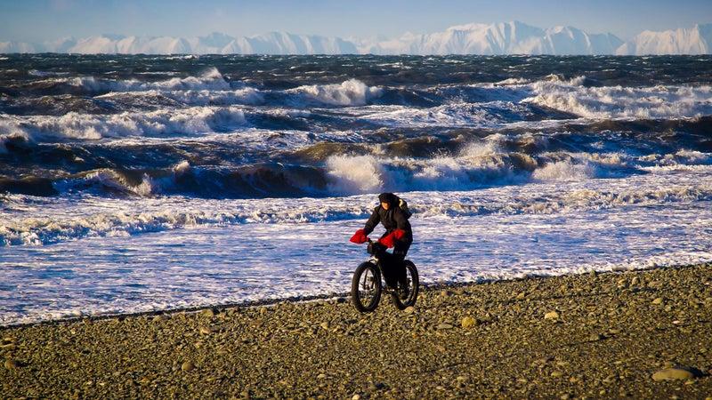 Fat biking on a beach near Homer, Alaska.