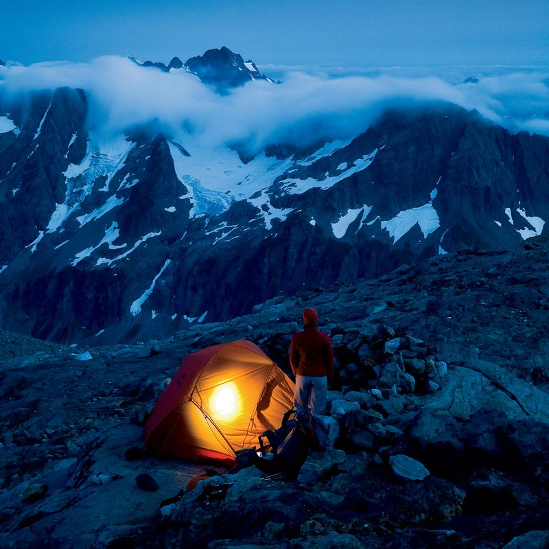 Camping below Sahale Peak at dusk in North Cascades National Park