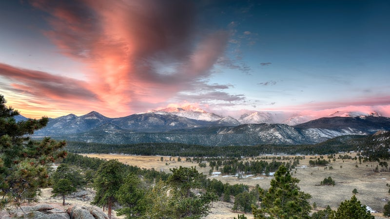 Sunrise over the Rocky Mountains.