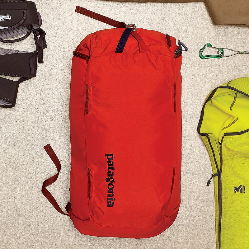 It looks like your basic top loader, but a zippered back panel lets you lay it flat and grab gear without unpacking. At 35 liters, it fits shoes, a harness, a layer, and snacks. $129, patagonia.com