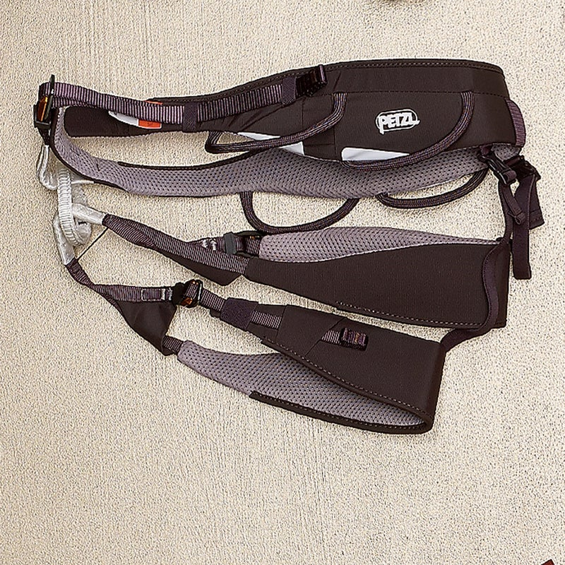 Petzl put a strip of foam around the back of the Aquila's ($125) waist for a snug fit, and four gear loops—two rigid up front and two flexible in the rear—prevent pressure points from a pack. petzl.com