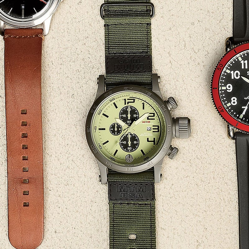 MTM specializes in military-grade watches with lots of functions. The Hypertec Chrono ($350) scales things back, including the price. Choose from three dial configurations, twelve face colors—even the color of the hands is up to you. It's streamlined and built to last. specialopswatch.com