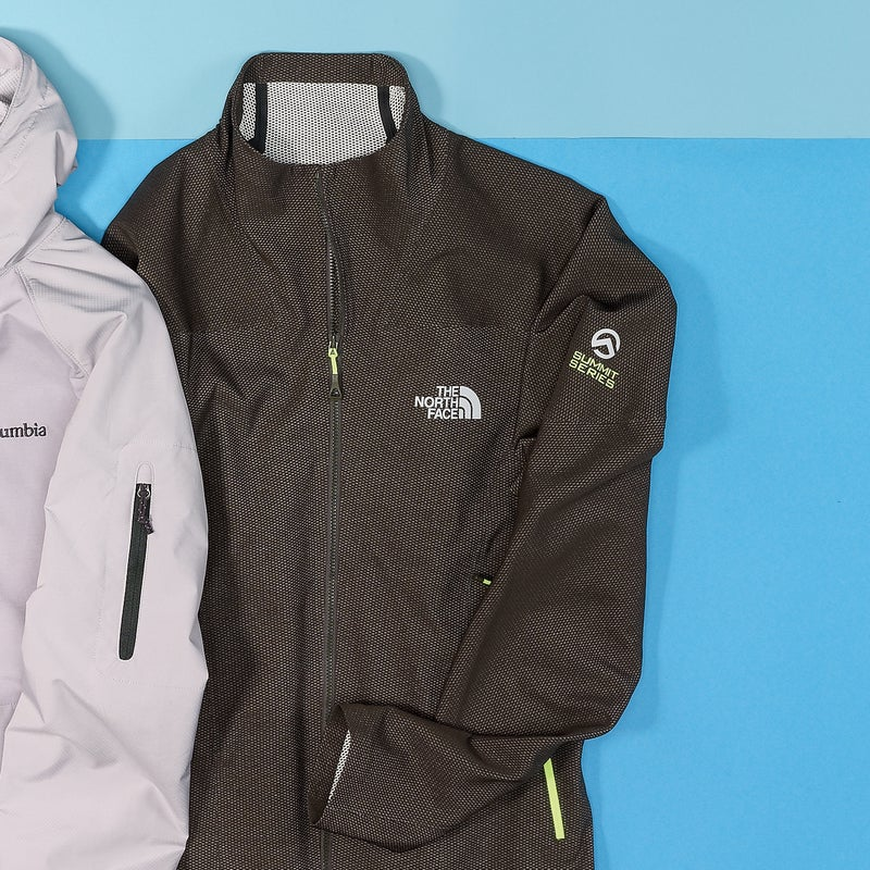 Best For: Unrestricted mobility. The Test: We've never worn a jacket like this. The proprietary fabric is crazy stretchy—we never exposed our wrists, even reaching high for a hold on a sport climb—but also remarkably soft next to the skin. And because the North Face's designers figured out how to make the jacket ($199) out of a single piece of fabric, there are few seams, which cuts down on both weight and bulk. The catch to all that light mobility? Hoofing up to a rock climb, we found it didn't breathe that well. But the poly-nylon lining quickly wicked our sweat away once we stopped.  The Verdict: The most comfortable jacket here, thanks to all that stretch. 15 oz; thenorthface.com Breathability: 3 Weatherproofness: 3