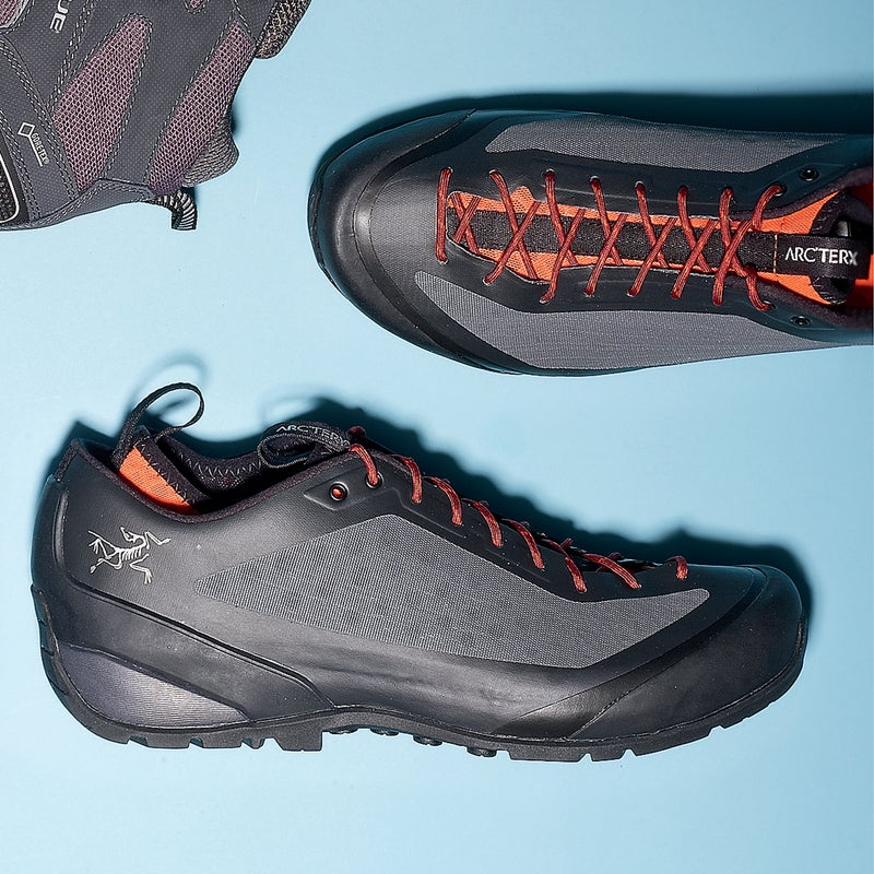 Best For: Serious trail abuse. The Test: Arc'teryx's new line of shoes are sleek, durable, and packed with technology. In the Acrux ($190), the tongue was jettisoned in favor of a mesh-lined bootie that keeps your foot snugly in place and prevents debris from getting in. The shoe has zero seams: Arc'teryx laminated the materials together to create a supertough one-piece upper that showed nary a scuff even after six months of frequent use. Extra points for the approach-shoe-style toe rand—great for scrambles. The Verdict: A bombproof shoe for gnarly terrain. 14.5 oz; arcteryx.com Comfort: 3.5 Traction: 5