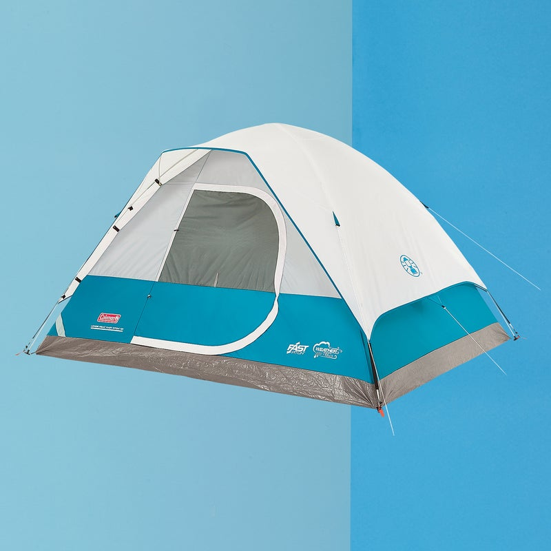 Best For: Car camping.  The Test: In a word—easy. Easy living, with lots of room for four, storage pockets, and a big door. Easy on the wallet ($110). And, as the name indicates, especially easy to set up. Permanently attached at the apex of the tent, the four half-poles slip into a huge junction box and then snap into large connection points at the corners. It's one of the simplest setups we've seen—a couple of ten-year-olds had it up in minutes. Sure, it's a bit heavy, and there's no vestibule, but it delivers on its most critical function. And thanks to a partial fly over the top, highly water-resistant walls, and a reinforced floor, it kept everybody dry during a downpour.  The Verdict: Proof you don't have to spend an arm and a leg to go camping. 9.7 lbs; coleman.com  Livability: 4.5  Sturdiness: 3