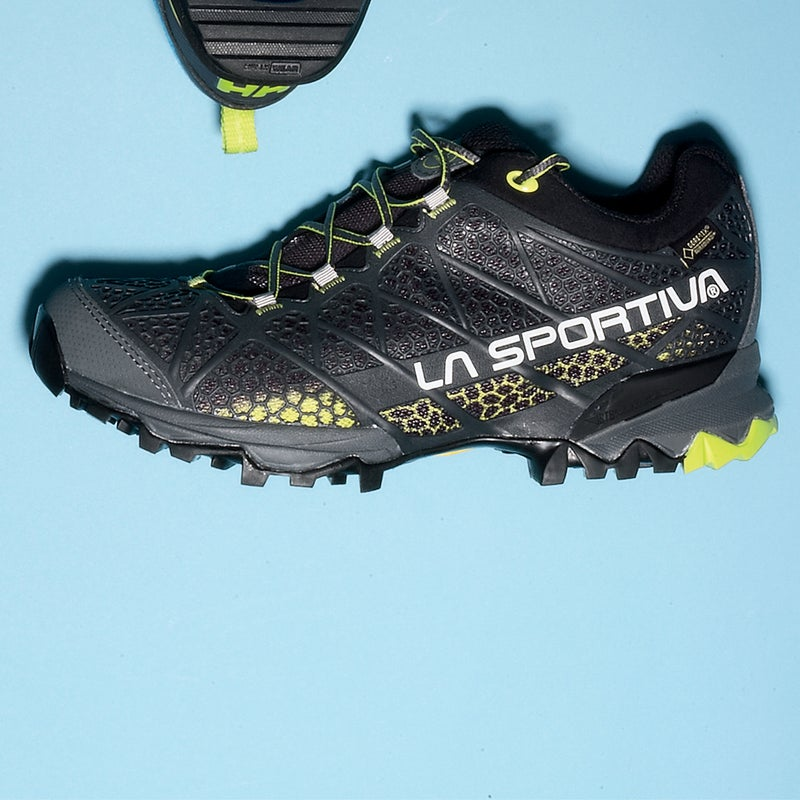 """Best For: Hot, wet days. The Test: This was the driest, coolest waterproof light hiker we tested, by a healthy margin. Credit Gore-Tex's new Surround membrane and a highly breathable plastic exoskeleton, which promotes airflow without sacrificing support. La Sportiva is known for making top-flight climbing shoes, so it's no surprise that the Primer ($175) displayed exceptional grip on wet surfaces. """"It was actually difficult getting used to just how well it stuck to the trail in all manner of conditions,"""" said one tester. Our only complaint: the higher-than-average heel is less stable than we'd like.  The Verdict: Go fast, stay dry, keep cool. 13.2 oz; sportiva.com Comfort: 4 Traction: 5"""