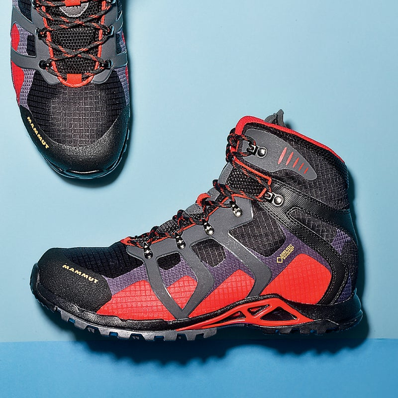 """Best For: Backpacking in the rain. The Test: Think of it as the hiking-boot counterpart to a top-end waterproof-breathable jacket. """"It shakes off water like my favorite shell,"""" said one tester after hiking soggy Colorado trails. Like the La Sportiva, it features Gore-Tex's Surround technology. Combine that with an outer made of mostly ripstop nylon (which cuts weight), and a rugged rubber toe cap, and the Comfort High ($199) moves fast in mucky conditions. Thick lugs provide a firm but stable landing. The Verdict: Best support-to-weight ratio in our test. 2 lbs; mammut.ch Comfort: 4 Traction: 4"""