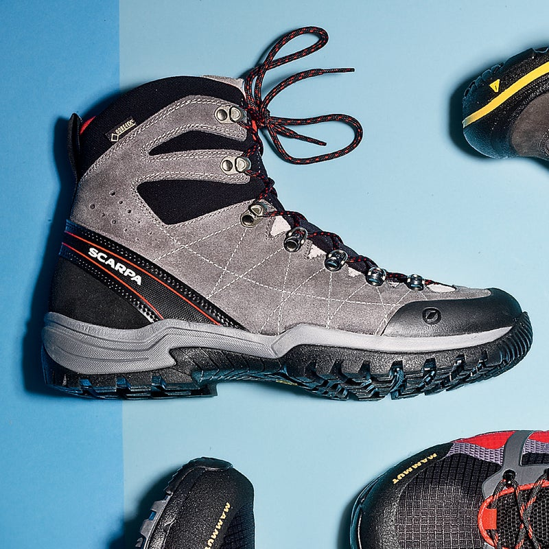 Best For: Heavy loads. The Test: It can takes weeks or even months to break in a pair of backpacking boots. Not so with the R-evolution ($239). Testers found these high-tops to be all-day comfortable, thanks largely to a redesigned tongue that readily conforms to the foot and allows you to cinch the outer snugly (also removing the chance of blisters). A stiff midsole, burly tread, and an extra-thick suede outer make this the ideal boot for grueling multi-day trips. And the Gore-Tex liner was protective even in summer monsoons.  The Verdict: Planning an AT through-hike? Get these. 1.4 lbs; scarpa.com Comfort: 4.5 Traction: 5