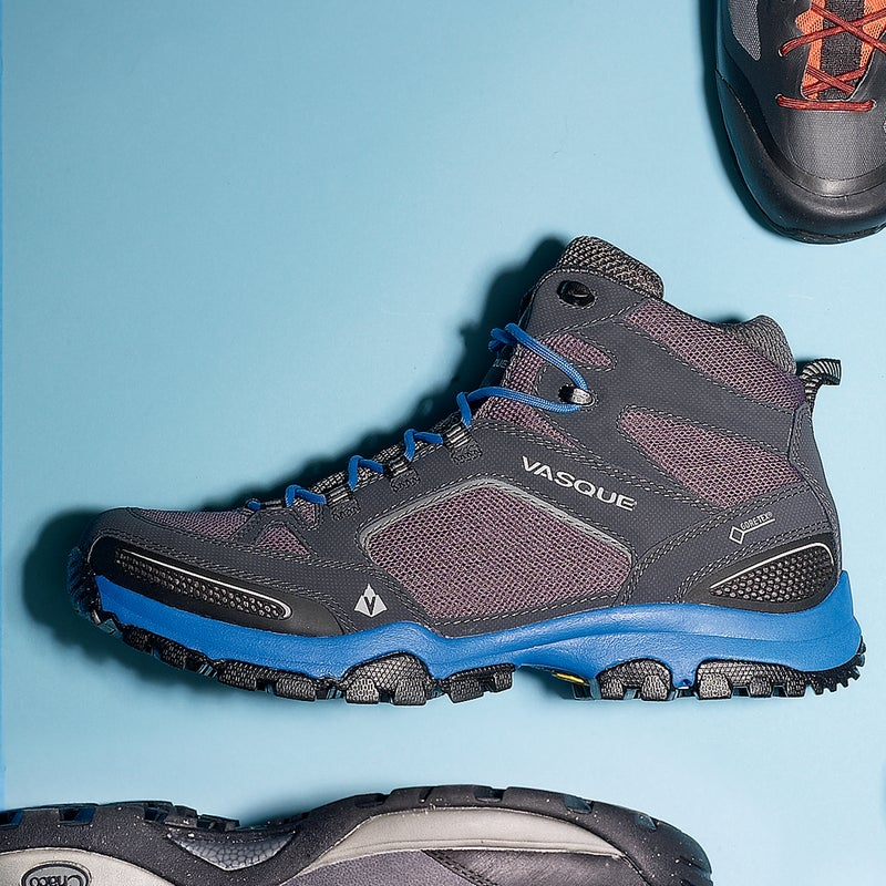 """Best For: Weight watchers. The Test: The Inhaler ($160) was a tester favorite—a tough high-top that weighs little more than a low-cut hiker. """"I felt like I could literally jog in these things,"""" said one. Traditional Gore-Tex liners kept our feet dry through several rainstorms, and abundant mesh on the sides and small, air-permeable grids at the toe and heel helped with temperature regulation.  The Verdict: Ankle support without a lot of bulk. 1.9 lbs; vasque.com Comfort: 4 Traction: 4"""