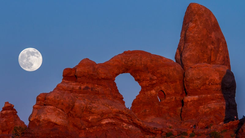 Supermoon at Turret Arch, Arches National Park.