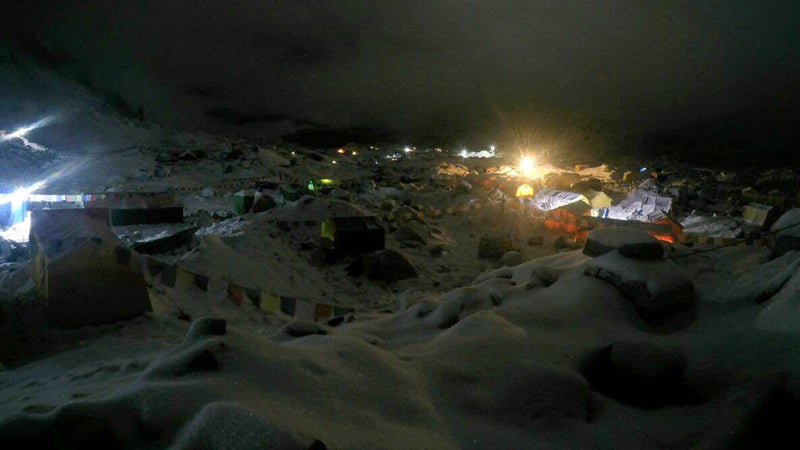 At Everest Base Camp, rescuers are working through the night to triage and care for the injured.