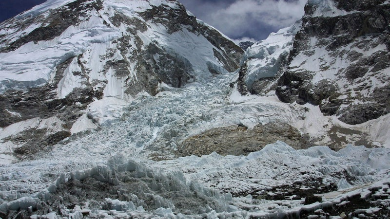 A view of the Kumbhu Icefall, as seen from Everest Base Camp, Nepal, Saturday May 17, 2003.