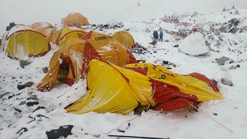 The scene at Base Camp after the avalanche on Saturday, April 25.