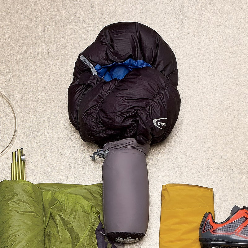 Packed with 900-fill down, the Hugger ($419) kept us warm even below its advertised 40-degree threshold. Diagonal seams and baffles provided enough give to wiggle, and best of all, it compresses down as small as a grapefruit. montbell.us