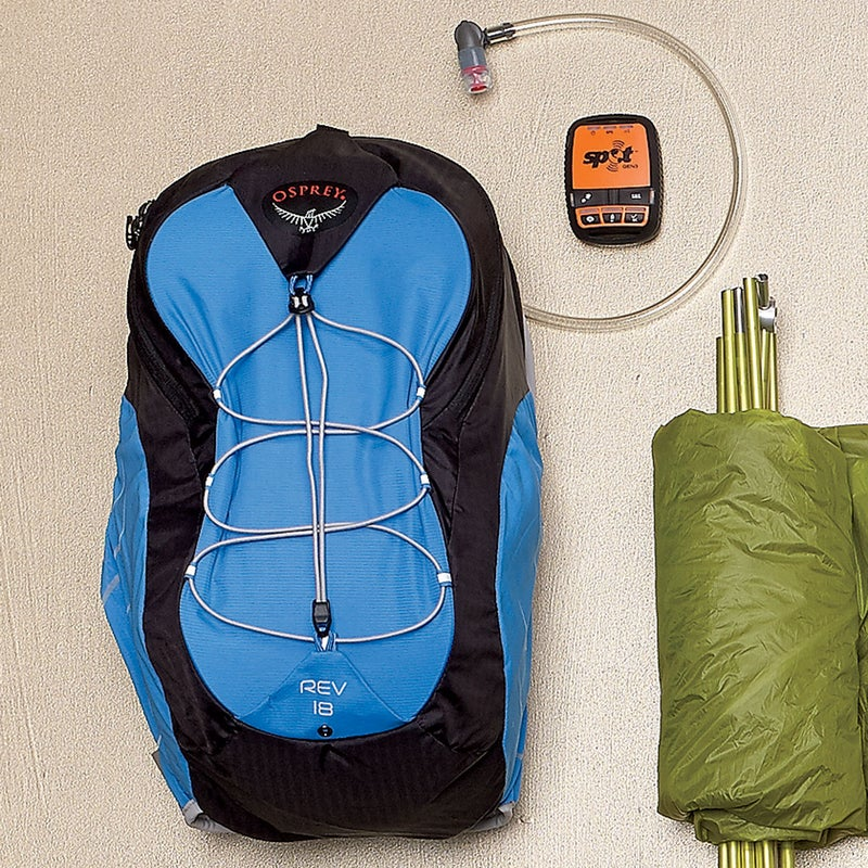 At just over a pound, this wispy hydration pack ($120) uses mesh in the straps, back panel, and pockets to cut weight while adding breathability. ospreypacks.com