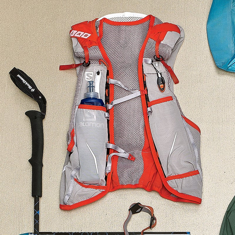 This smartly constructed pack ($185) can tote everything on this page securely (including the poles) and comes with two 500-milliliter front flasks and a handy safety blanket. salomon.com
