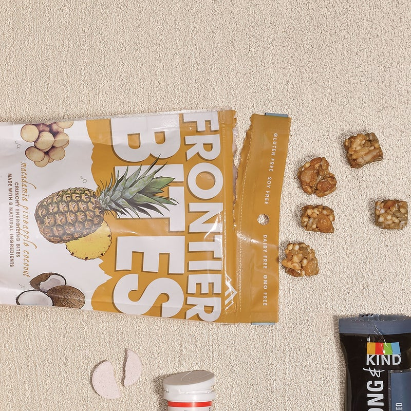 It's hard not to inhale a 3.5-ounce bag of macadamia nuts, coconut, and pineapple ($5.50). Which is fine: the dairy- and soy-free mix (also available in nut-and-berry blends) has no additives and is only lightly sweetened with brown-rice syrup and honey. frontierbites.com