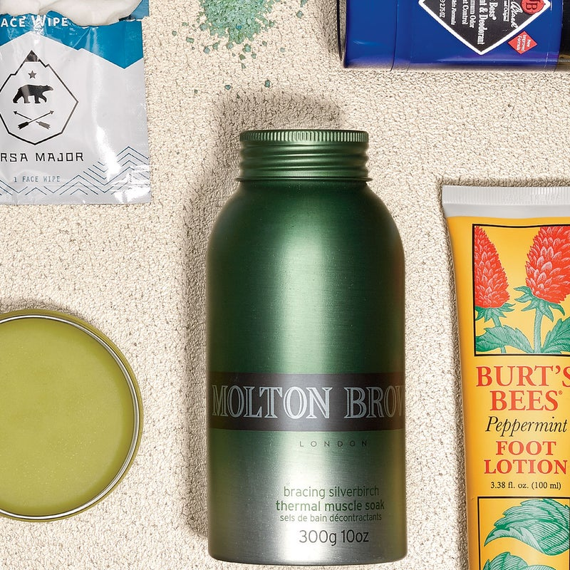 Don't be alarmed when these crystals ($30) turn your hot bath kelly green. A soak in the woodsy-scented water soothes tired muscles and makes you feel like you just woke up from a nap. moltonbrown.com