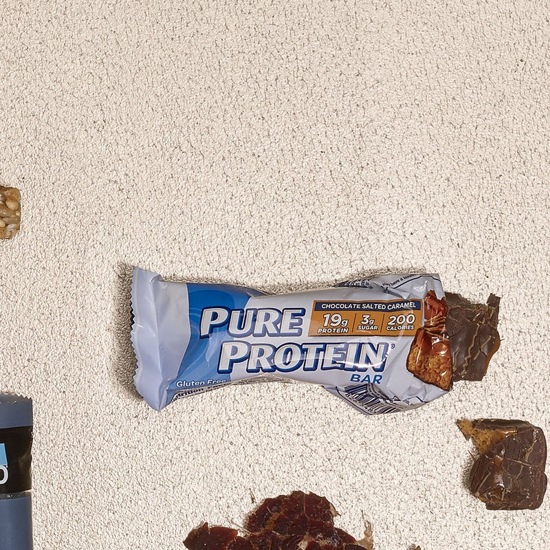Eating protein immediately after a workout maximizes repair of damaged muscle tissue. Pure Protein delivers 19 grams per bar ($1.75), and even with only three grams of sugar, the Chocolate Salted Caramel version is delicious. pureprotein.com