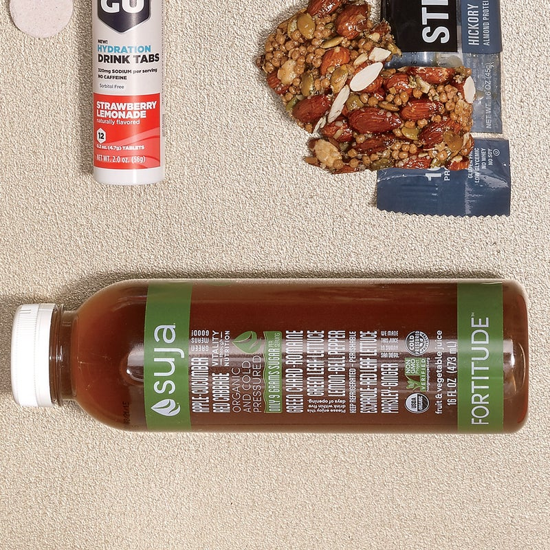 Store-bought juices often have as much processed sugar as soda. Not Suja's ($8). All nine grams come from organic fruit. The juices are cold-pressed, not pasteurized, to retain more vitamins and minerals. The apple, cucumber, and ginger Fortitude blend provides a refreshing hit after a sweaty run. sujajuice.com