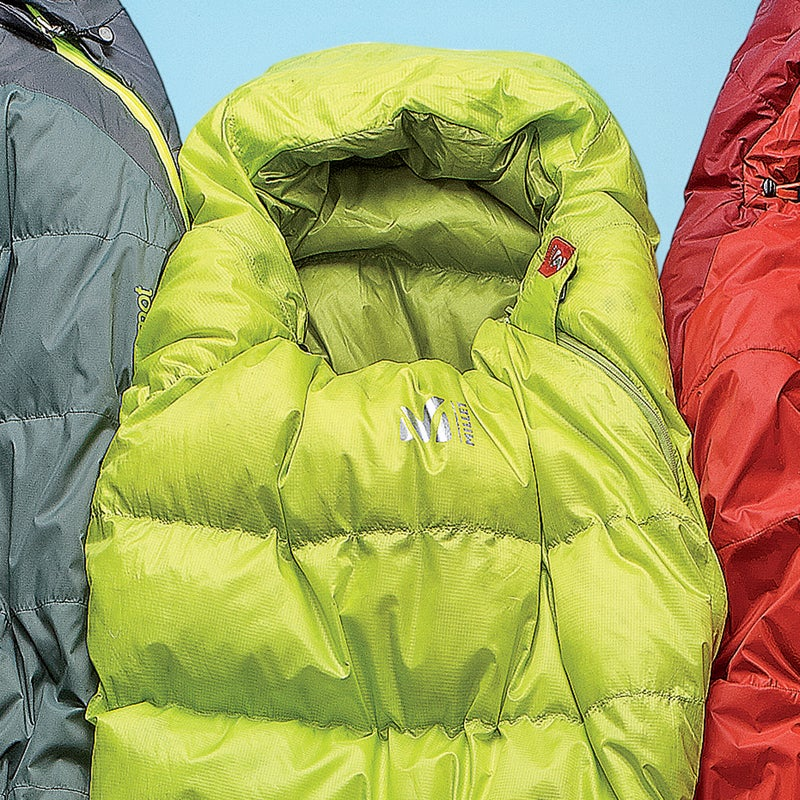 Best For: Making camp life easier.  The Test: So many bags have annoying flaws: zippers that snag, jumbles of cords around your face, clammy linings. Which is why the 700-fill down Alpine ($230) is so refreshing. The hood drawcords are thoughtfully designed—around the chin, over your head—making it easy to cinch, even when you're half asleep. Testers also cheered the three-quarter-length zipper (it never snagged), the built-in stuffsack (smartly attached to the hood for faster packing), and the extreme compressibility.  The Verdict: An ideal summer bag when space and weight are at a premium. 32°; 1.8 lbs; millet.fr Sleep Comfort: 3.5 Warmth to Weight: 4.5