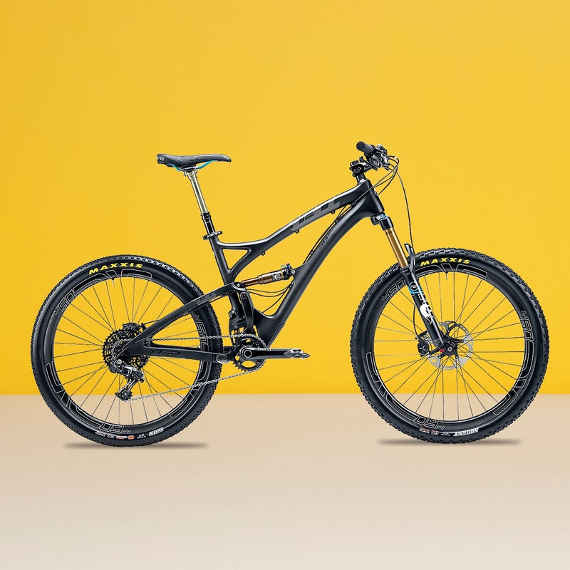 """Best For: Your one-bike quiver.The Test: Yeti's Switch Infinity suspension gets the award for most interesting design, with a link that changes direction partway through the travel, providing excellent small-bump handling and plush, solid support on big hits. """"Mechanics aside, it's the smoothest suspension I've ever felt,"""" said one tester. The front end of the five-inch SB5C ($9,349) is slack and the bottom bracket low, making this 27.5er more capable on descents than the slightly longer-travel Ghost. And Enve's M60 Forty wheels are so stiff and confident, you'll want to bomb downhill on them.The Verdict: A trail bike for riders with big-hit dreams. 26.2 lbs; yeticycles.comClimbing: 4.5Descending: 4"""