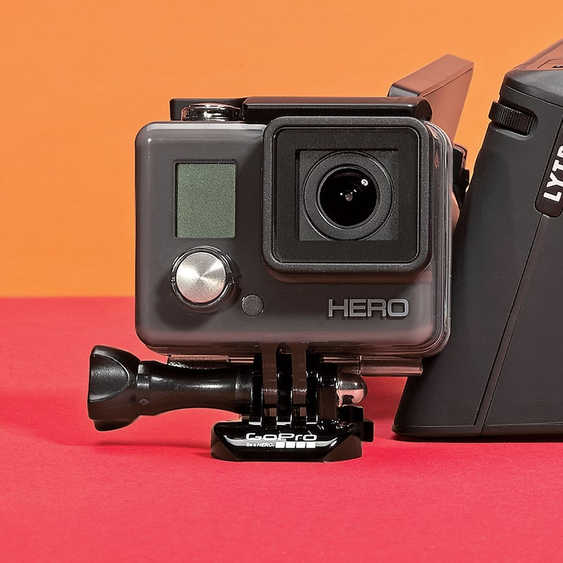 Best For: Action-cam newbies.  The Test: In 2011, GoPro debuted the HD Hero2 for just under $300. Now you can get its equal, the Hero, for around a third of that ($130). It fires 1080p video and has a very bright f/2.8 lens with auto-low-light detection (something the Hero2 never had), which means your footage won't go dark when you bomb your downhill bike into misty trees. Like its pricier siblings, the Hero has an automatic time-lapse function that lets you stitch together hundreds of frames—ideal for shooting a midnight summer-solstice sky.  The Verdict: All the action cam most of us will ever need. gopro.com Utility: 5 Tech: 3