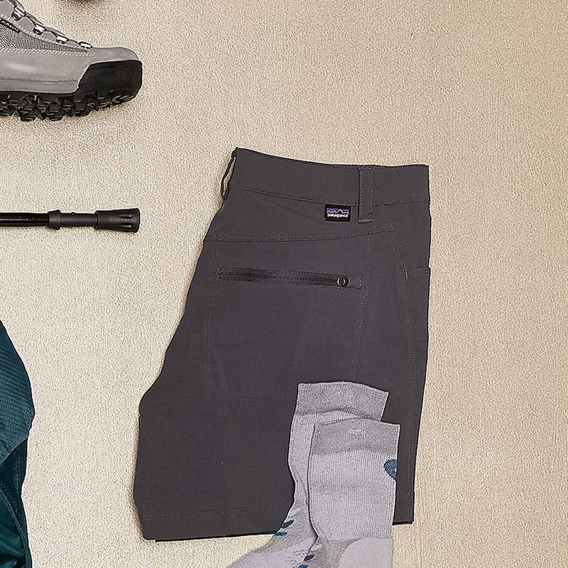 With only two low-profile front drop pockets, these lightweight nylon-spandex shorts ($59) don't allow you to carry much, but that's why you have a pack. patagonia.com