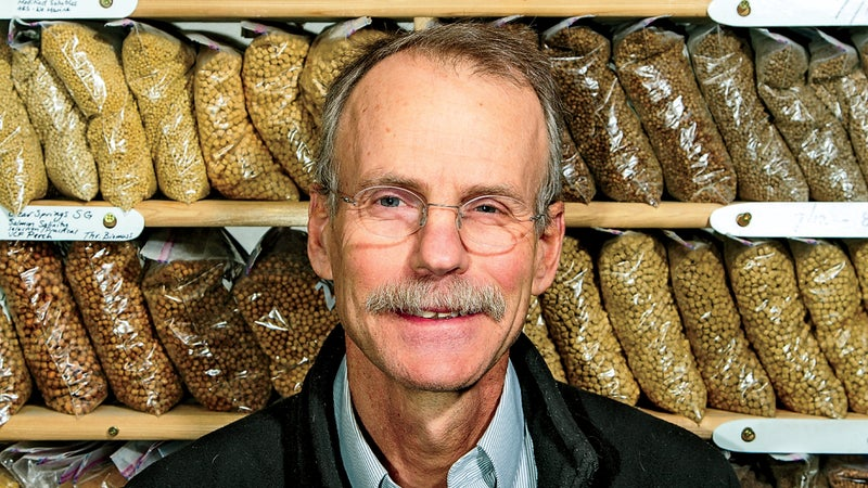 USDA scientist Rick Barrows with his fish feed in Montana.