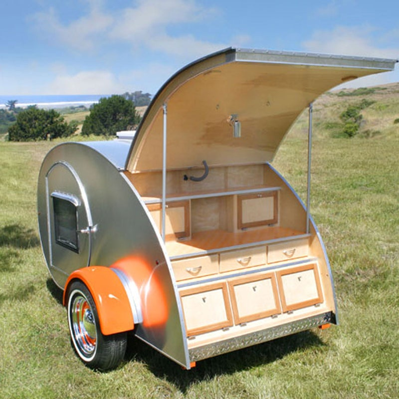 """As we got older, we still loved to camp but became less tolerant of flattening air mattresses that made it tough to get a good night's sleep,"""" says Leslie Kosareff. """"But we refused to become conventional RVers."""" So Kosareff and her husband, Joe, started Vacations in a Can, which rents compact teardrop trailers. Most have room for two adults, a galley, and storage. The company rents three models out of Penngrove, California. vacations-in-a-can.com"""