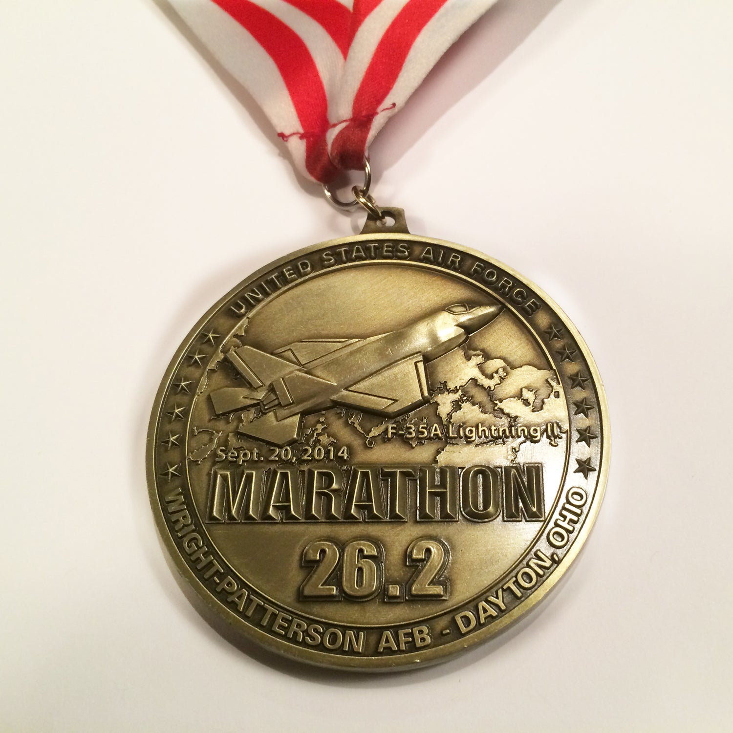 Solera: Nothing says raw power like a fighter jet. Every year, the Air Force Marathon features a different military plane on its medal and promotional materials, and every year the medal is a crowd favorite.
