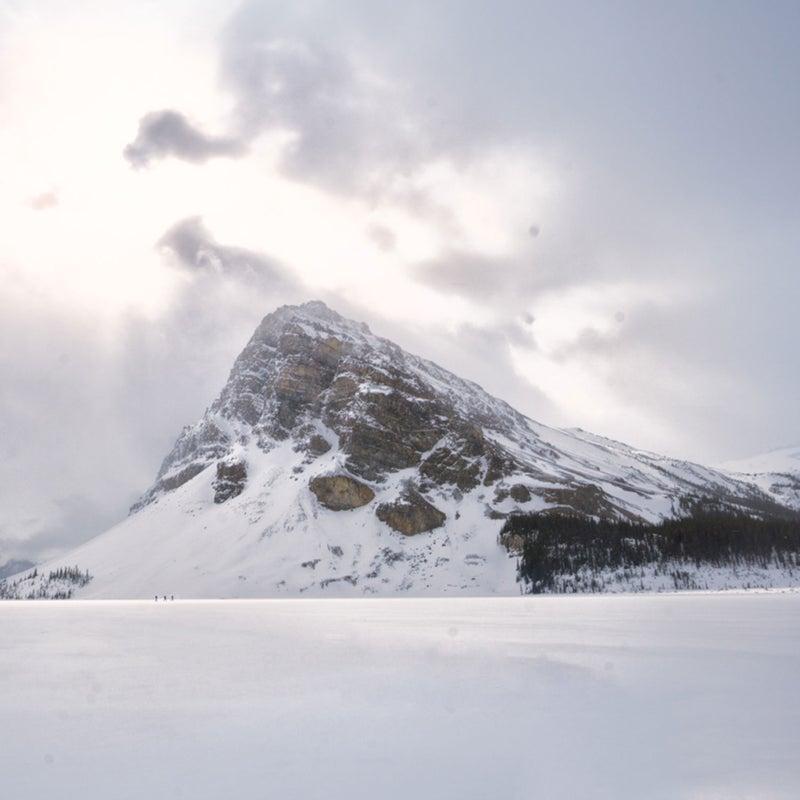 Little people in a big landscape, Bow Lake, Alberta.