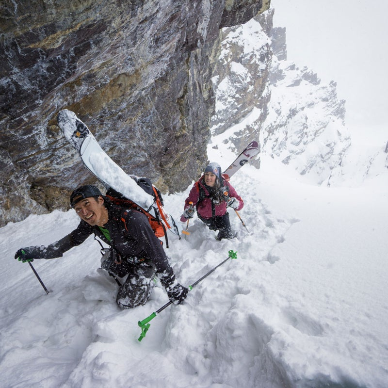 Chin and Monod bootpack up a perfect couloir on Surprise Pass, Alberta. Blowing snow made for some creamy turns on the way down.