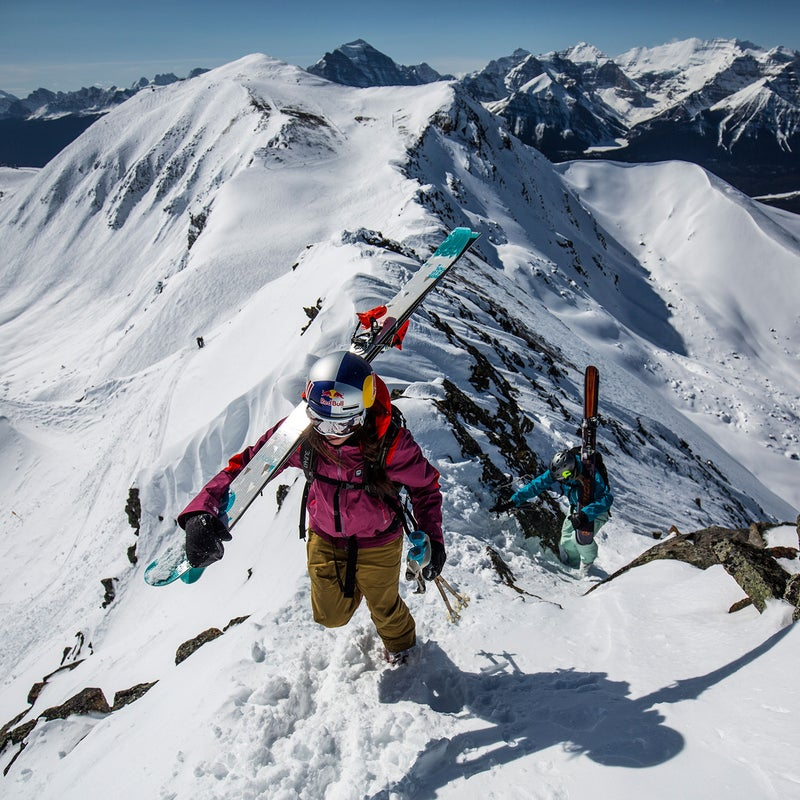 Monod hiking for turns on the northern boundary of Lake Louise Ski Resort, one of five lift-accessed ski areas within the boundaries of the national parks of Alberta.