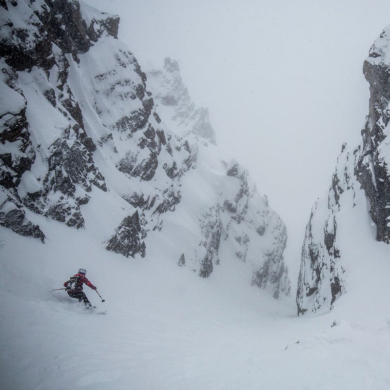 Monod throwing it down the white hallway off Surprise Pass, Alberta.