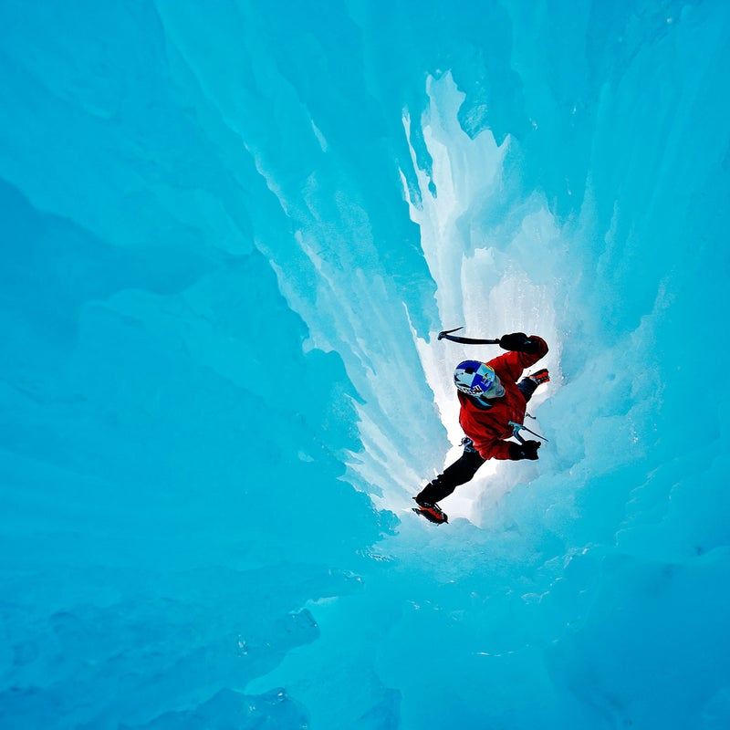 """Canmore-based ice climber and paraglider Will Gadd, 48, makes his way up a feature he and Chin dubbed """"the birth canal"""" in the Ghost River Wilderness. Warm conditions soaked the pair during an afternoon climb, but, thankfully, Chin's camera revived after conking out."""