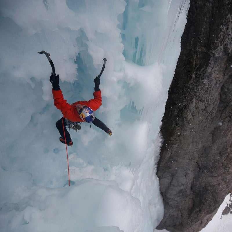 Will Gadd getting vertical in the Ghost River Valley, Alberta.
