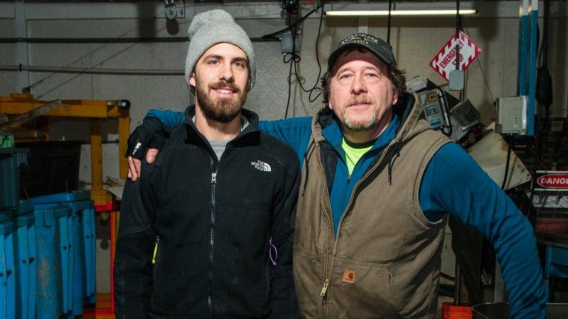 Mussel farmers Matt (left) and Gary Moretti in Portland, Maine.