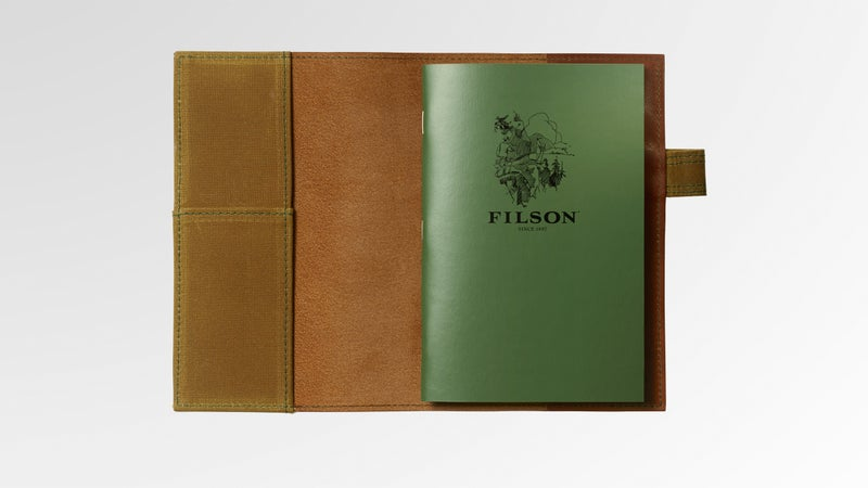 With an oil-finished leather and weather-resistant paper, the Filson Leather Notebook Cover and Notebook protects dad's deep thoughts.