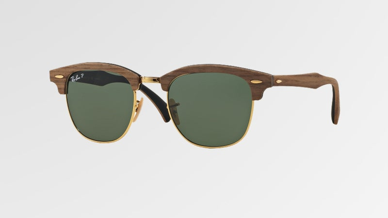The Ray-Ban Clubmaster Wood features one of three different types of wood across the bridge.