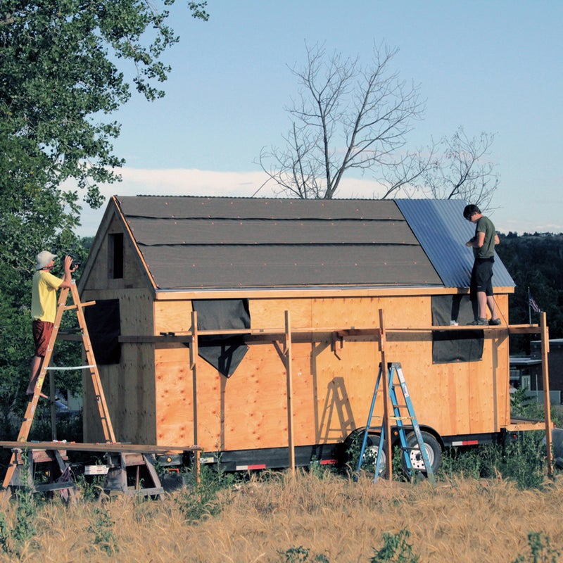 """Your tiny house will be tiny, sure, but that doesn't mean a tumble off the roof won't hurt. """"The roofs of these houses tend to be steep,"""" says Smith. """"We actually built scaffolding around the house for this stage of construction.""""Roof height is also a factor when it's time to take the house on the road. It would be a shame to have a highway overpass shear off your brand-new roof (and demolish your house)."""