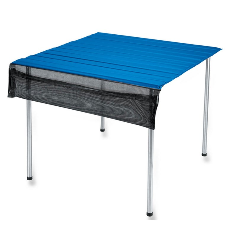 I've used my Camp Time Roll-A-Table ($85) for nearly a decade. It rolls down to the size of a sleeping pad, but it's large enough to seat four when set up. Tip: Get a tablecloth to add some class to your dinners.