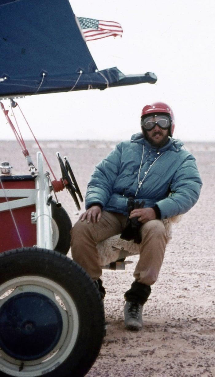 Pilot Don Rypinski on his Windraider land yacht.