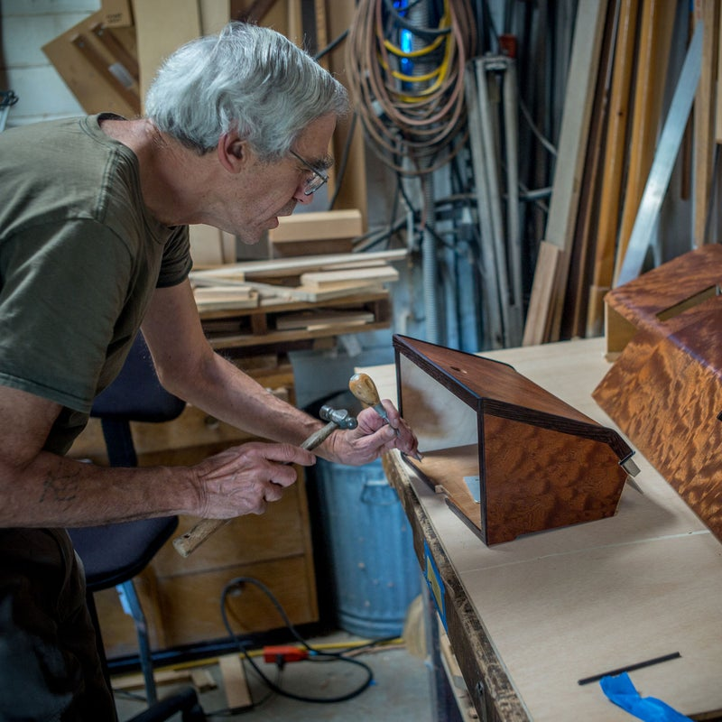 Well over 200 hours of labor have gone into the custom-wood interior. Carpenters Steve Levinson and Richard Draut did most of the work.